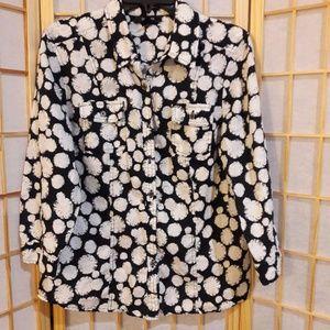 Style & Co Black White Linen Button Front Shirt